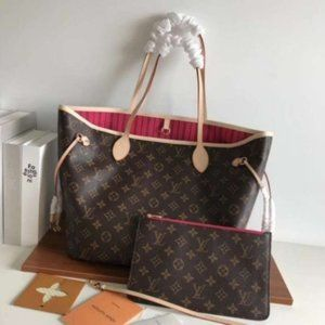 NWT L💖V Neverfull Mm Monogram Brown Leather Tote